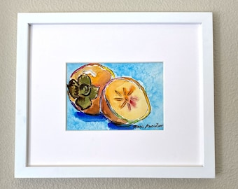 Original M. Autio Watercolor Painting Only 5 by 7 inches OOAK - Persimmon Fruit on Cold Press Cotton Paper Asian Fruit