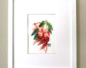 Original M. Autio Watercolor Painting Only 5 by 7 inches OOAK - Fluid CHERRIES 1 Summer Relax Fruits Vibes Red Bold on Cellulose Paper