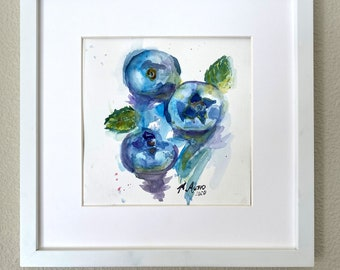 Original M. Autio Watercolor Painting Only 8 by 8 inches OOAK -  Favorite BLUEBERRIES Spontaneous Artsy Flowing Liquid Vibe