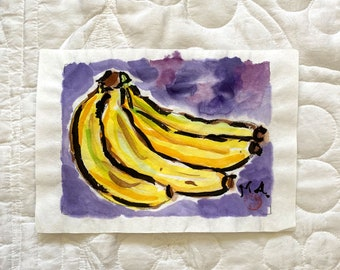 Original M. Autio Watercolor Painting Only 5 by 7 inches OOAK -  BANANAS on Rice Paper Minimalist Asian Influence Ink Brush Work