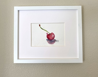 Original M. Autio Watercolor Painting Only 5 by 7 inches OOAK - Fluid BLACK Cherry Summer Relax Fruit Vibes Red Bold on Cellulose Paper