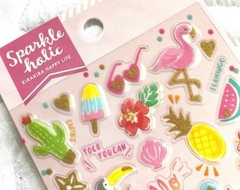 Kawaii Japan Glitter Sticker Sheet: Mind Wave Sparkle Holic Premium Series TROPICAL Pineapple Flamingo Fresh Summer Vibes Fancy