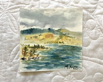 Original M. Autio Watercolor Painting Only 8 by 8 inches OOAK -  Cloudy at FLATHEAD Montana Landscape Lake Wildhorse Island View