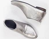 SALE \ LAST PAIRS  Silver boots, leather ankle boots, Silver leather shoes, Metallic boots