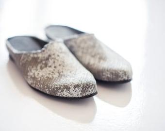 Vegan canvas slip on shoes, Open back sandals