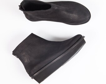 Platform boots, Black chunky shoes, Womens leather boots