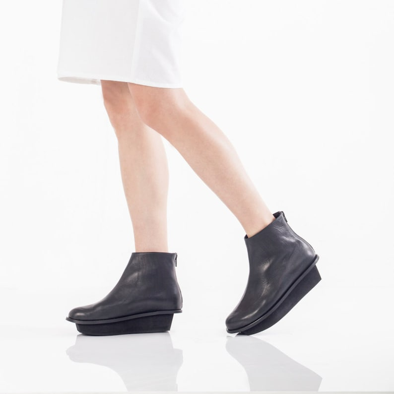 Stylish Wedge Boots Designer Handmade Shoes Black Ankle Booties Geometric Shoes Women/'s Platform Boots
