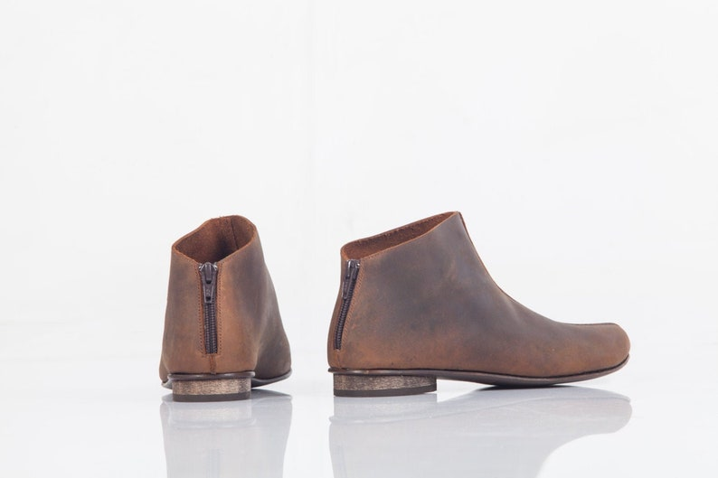 Brown Leather Ankle Boots Ladies Low Cut Leather Booties Cool Boho Flat Boots Everyday Winter Shoes