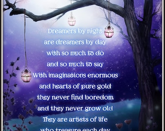 Dream Big, Purple Decor, Child Decor, Enchanted Forest, Wall Art, Nursery Art, Magical Forest, Print,  Believe,Inspirational Poster,Poetry