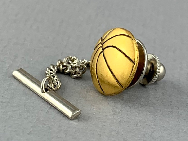 gift for Dad baller gift Basketball antique gold plated finish tie tack husband sport fan gift