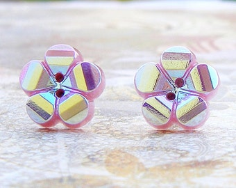 Pretty in Pink - vintage Czech glass button stud earrings, repurposed, up cycled earrings