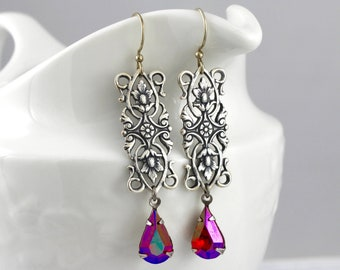 Filigree Rectangle in Iridescent Pink - vintage style antique silver earrings - Intricate Geometry Collection