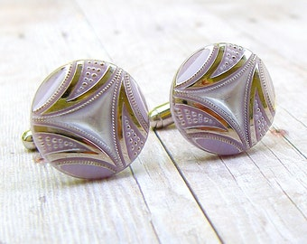 Dusty Lilac -  vintage glass button repurposed, up cycled cufflinks
