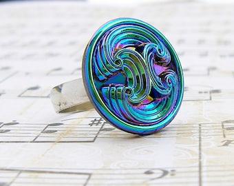 Tide - adjustable Vintage glass button ring