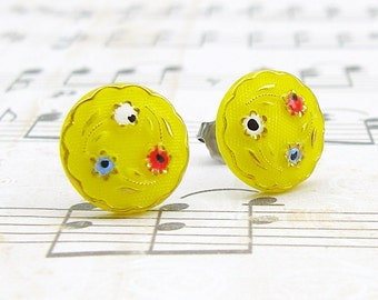 Daisy Trio in Yellow - vintage glass button stud earrings, repurposed, up cycled surgical post earrings