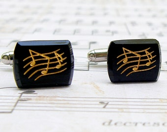 Music Note Cufflinks - Let the Music Flow Collection - Vintage glass cufflinks