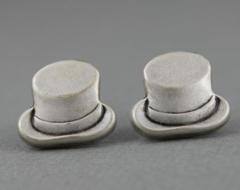 Top Hat - antique silver post earrings, gentleman hat earrings