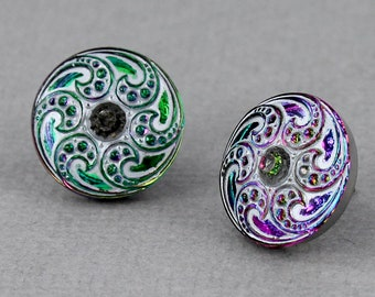 Pink and Green Paisley Swirl - Czech glass button stud earrings, repurposed, up cycled surgical post earrings, gift for her
