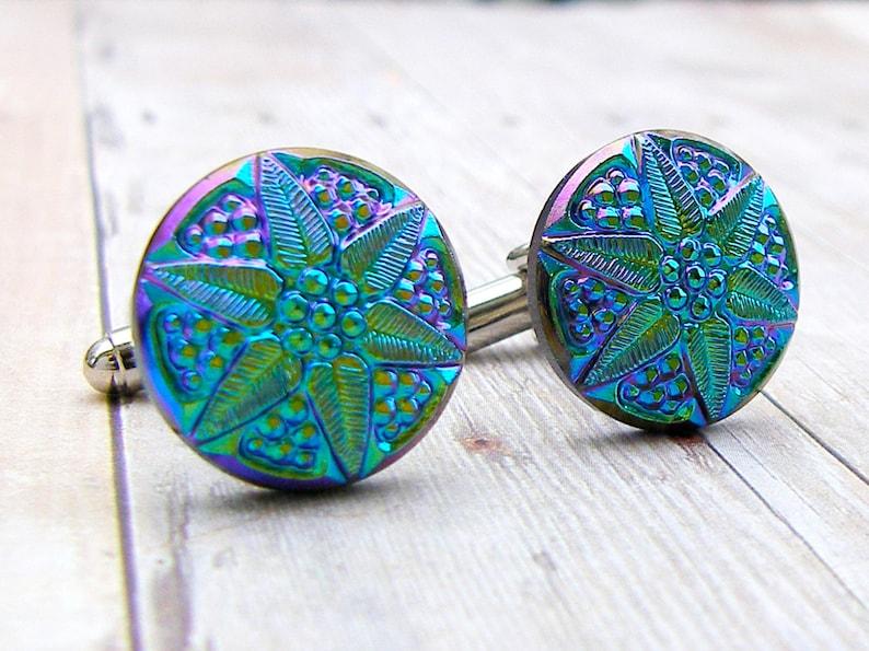 Poinsettia vintage glass button cufflinks