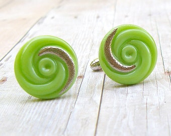 Spring Green Swirl - vintage glass button repurposed, up cycled cufflinks