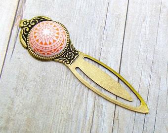 White Sunflower - vintage style antique brass bookmark