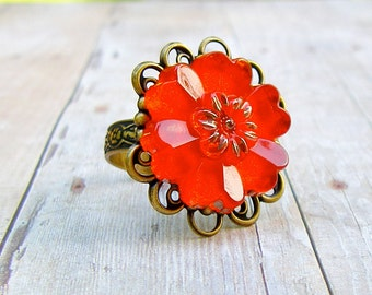 Orange Daisy - adjustable glass button ring