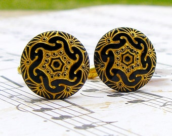 In Gear - Czech glass button cufflinks
