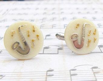 Saxophone Cufflinks - Let the Music Flow Collection - Vintage glass cufflinks, saxophone cufflinks, wedding, dad gift