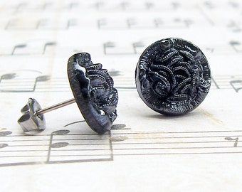Charcoal Knot - vintage button post earrings, repurposed, up-cycled jewelry
