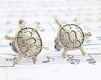 Antique Silver Turtle post earrings