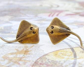 Stingray - antique brass finish post earrings, titanium post earrings, manta rays, ocean jewelry, vacation earrings, summer jewelry