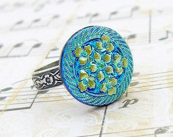 Aqua Blue Flower Bouquet - adjustable vintage Czech glass button ring