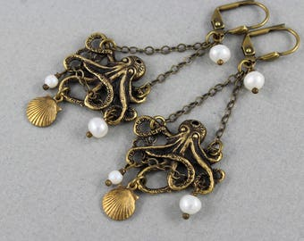 Tangled-up in Pearl White - vintage style antique brass octopus chandelier earrings - Ocean Whispers Collection