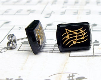 Music Note earrings - Let the Music Flow Collection - vintage glass post earrings