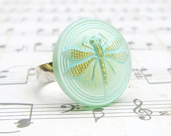 Shimmery Green Dragonfly  - adjustable Czech glass button repurposed, up cycled ring
