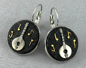 Banjo - Let the Music Flow Collection - Vintage glass element mandolin drop earrings, repurposed, up cycled earrings -  DE104