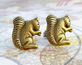 Nuts for Nuts - antique brass post earrings