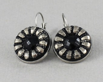 Black and Silver Daisy - Czech glass button surgical steel dangle earrings, repurposed up cycled flower button jewelry