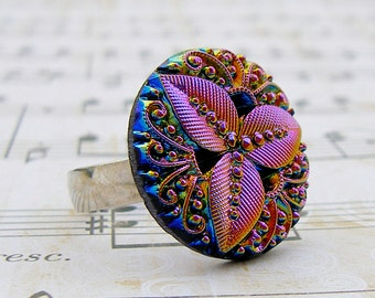 Rainbow Leaf - adjustable Vintage glass button ring, repurposed, up cycled statement ring