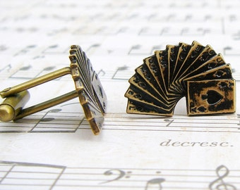 Flush - antique brass finish deck of playing cards cufflinks