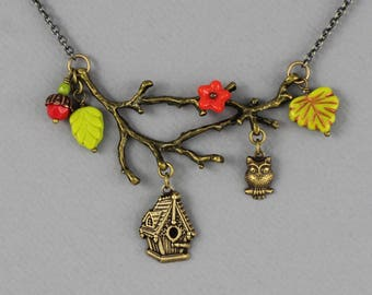 Woodland Branch - vintage style antique brass necklace, birdhouse, owl, nature lover, fall, forest creature jewelry