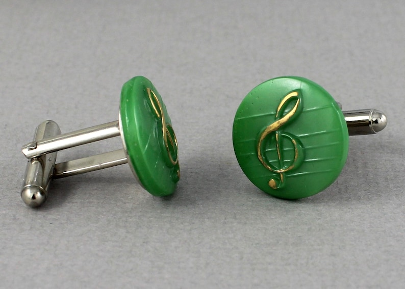 Treble Cleft Cufflinks in green Vintage glass button cufflinks up cycled cuff links Let the Music Flow Collection repurposed