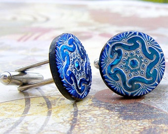 In Gear - Czech glass button repurposed, up cycled cufflinks