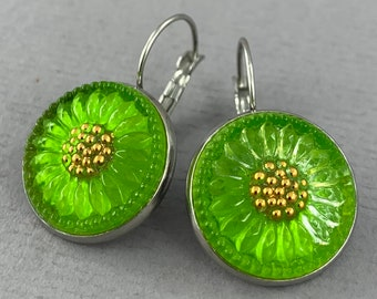 Gilded Lime Green Sunflower - Czech glass button surgical steel dangle earrings, repurposed up cycled flower button jewelry - DE105