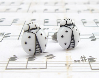 Black and White Ladybug - vintage glass button post earrings, up-cycled jewelry, repurposed jewelry