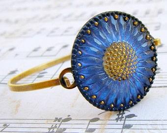 Denim Blue Sunflower - Czech glass button bangle bracelet, repurposed jewelry, up-cycled jewelry