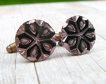 Old Copper Snowflake - Czech glass button cufflinks