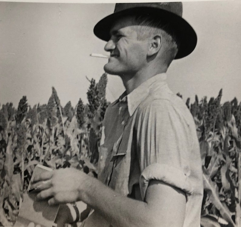 Outstanding in His Field Sorghum Farmer Photo image 0