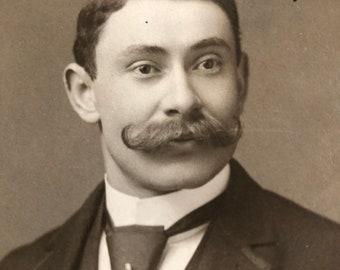 Luxuriant Mustache Victorian Hottie Vintage Dandy Card Photo