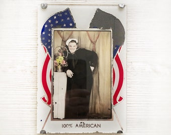 100% American: WWII US Navy Sailor Photo Vintage Patriotic Reverse Painted Glass Picture Frame